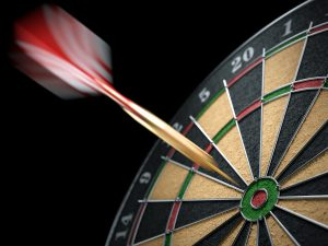 Dart hit a target dartboard in motion. Closeup. 3d illustration